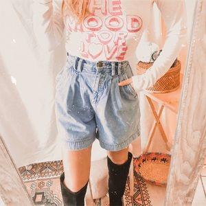 Vintage jean denim paperbag high waisted shorts